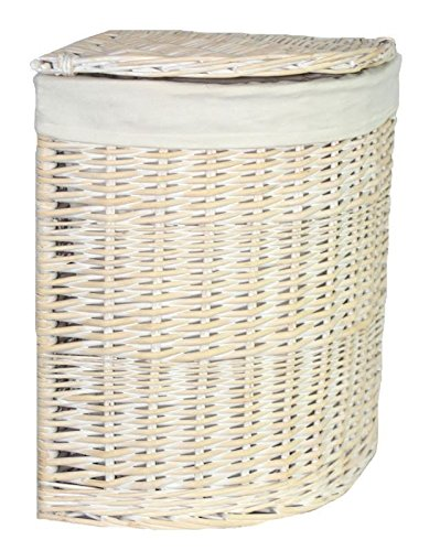 Small Corner White Wash Laundry Basket with a White Lining (White Corner Laundry Basket compare prices)