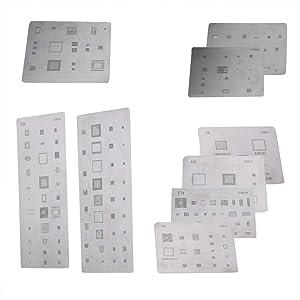 Zopsc 9PCS BGA Reballing Stencils Multi-Purpose High Precision IC Chipset Template Repairing Tool for Samsung Smartphones (Color: default)