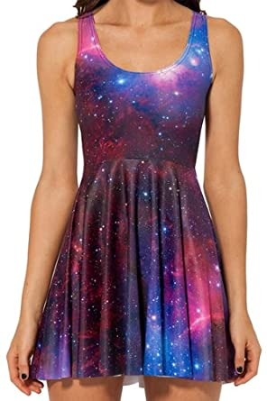 New arrival colourful galexy outer space print skater for Outer space clothing