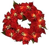 "22"" Pre-Lit Red Poinsettia Flower Christmas Wreath #MC-9415"