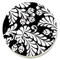 CounterArt Black Damask Absorbent Coasters, Set of 4