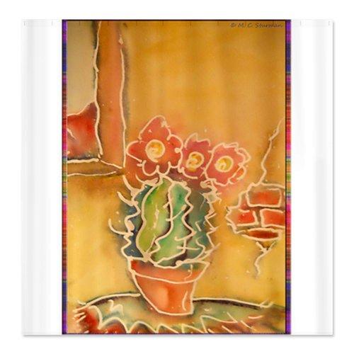 CafePress Cactus Southwest art Shower Curtain - Standard White - Southwest Shower Curtains Shower Curtains Outlet