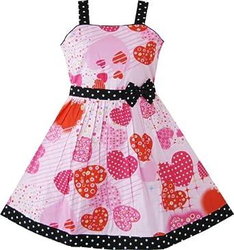 Sunny Fashion Filles Rose Cœur Imprimer Arc Attacher Partie 11-12 ans
