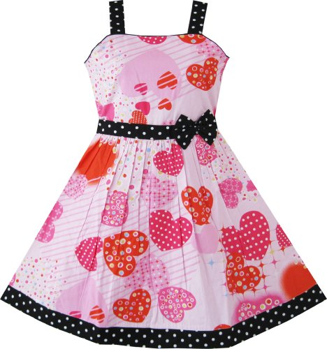 AV23 Girls Pink Heart Print Bow Tie Party Sundress Kids Clothes Sz 7-8