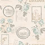 Holden Décor Felicity London Rose Floral Motif Horse Photo Vinyl Wallpaper (Duck Egg 11351)