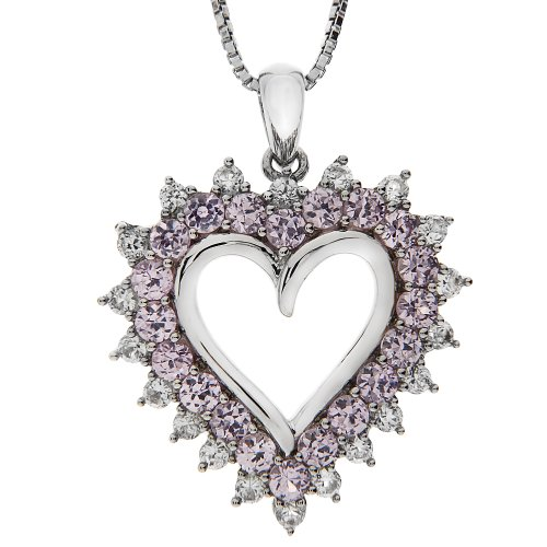 Sterling Silver Created Pink Sapphire and Created White Sapphire Heart Pendant Necklace, 18