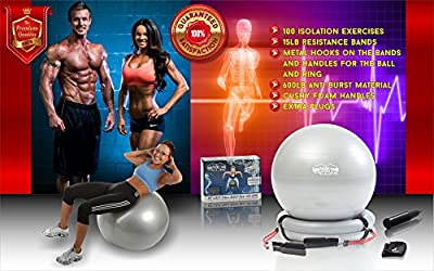 LIFETIME WARRANTY Superior Fitness 600 lb Exercise / Yoga / Stability Ball With Heavy Duty Gym Quality Resistance Bands & Pump - Improves Balance, Core Strength, Back Pain & Posture - For Men & Women