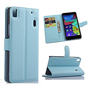 Lenovo K3 Note Case - Demomm Flip Pu Leather Wallet Case Holder Cover with Stand / Card Slots for Lenovo K3 Note A7000 (Blue)