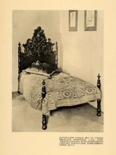 1920-print-carved-bed-frame-rosewood-embroidered-quilt-original-halftone-print