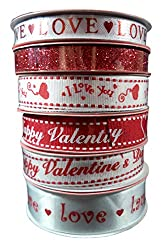 Assorted Valentines Day Ribbon, Pack of (6)