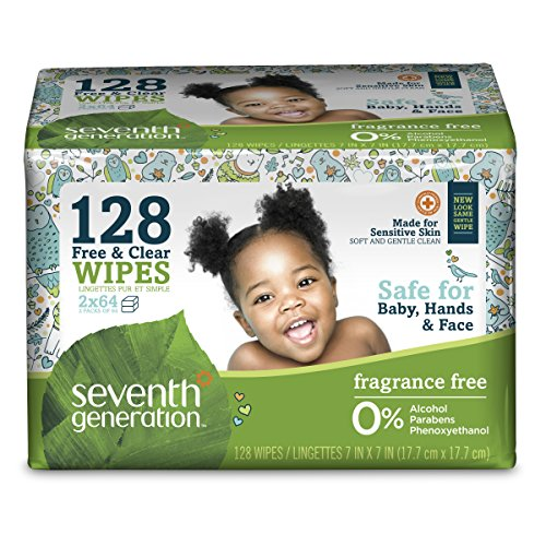 Seventh Generation Thick & Strong Free and Clear Baby Wipes Refill Pack, 128 Count (Packaging May Vary)