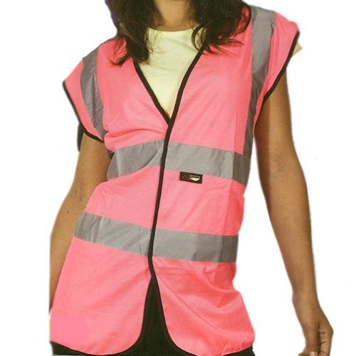 Ladies High Visibility Pink Vest, Waistcoat