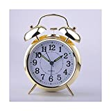"HITO™ 4"" Silent Quartz Analog Twin Bell Alarm Clock with Nightlight and Loud Alarm (NO15)"