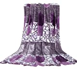 Euphoria Super Soft Fleece Prints Throw Blanket for Sofa Couch Lounge Bed Bedding Luxury Purple Leafs Design Single Size 150 x 200cm