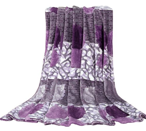 "Euphoria Brand Ultra Fluffy Fleece Flannel Prints Sofa Tv Blanket Throw Bedspread Purple Leafs King Size 90""X 80"" front-970369"