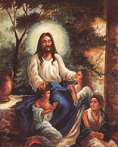 Jesus Christ with Children in the Garden Christian Religious Art Print Poster (16x20)