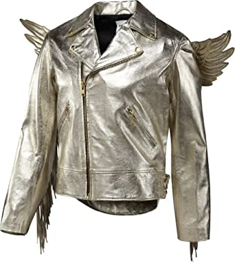 Adidas Men's Jeremy Scott JS Gold Wings Leather Jacket, X29880, X-Large