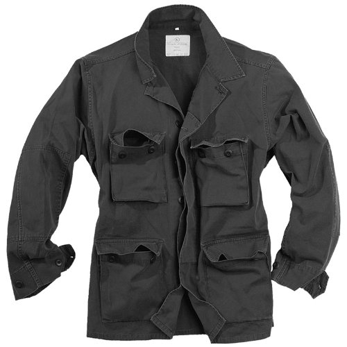 Surplus Military Army Style Lightweight BDU Mens Cotton Jacket Washed Black
