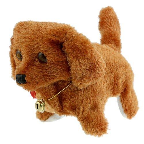 Toogoo(R) Brown Plush Neck Bell Walking Barking Electronic Dog Toy