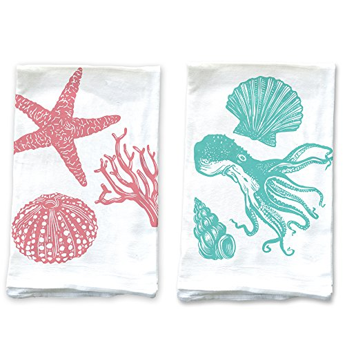 Rigel Stuhmiller Pink Shells and Teal Octopus Set of 2 Screenprinted 100% Cotton Flour Sack Kitchen Towels Printed in USA (Salt Water Taffy Machine compare prices)
