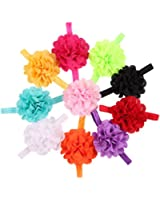 ROEWELL® 10 Pcs Baby's Headbands Girl's Chiffon Headband Hair Bows Head War Flower