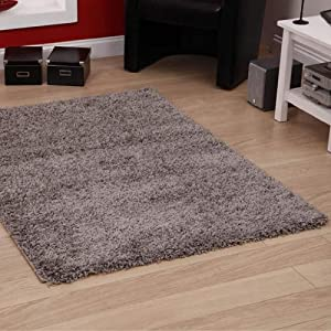 "Shaggy Rug Grey Silver 963 Plain 5cm Thick Soft Pile 60cm x 220cm (2ft x 7ft 3"") Modern 100% Berclon Twist Fibre Non-Shed Polyproylene Heat Set - AVAILABLE IN 6 SIZES by Quality Linen and Towels by Quality Linen and Towels"