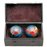 Oriental Furniture Great Good 40th 50th 60th Birthday Gift Idea, 1.5-Inch Chinese Health Balls with Dragon and Phoenix with Case