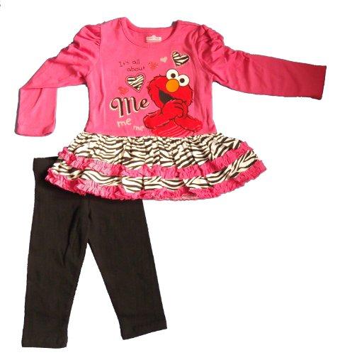 Sesame Street Baby-Girls Toddler 2 Pc Set Elmo Its All About Me Legging Set, Dark Pink (4T) front-1019036