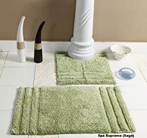 Homescapes Spa Supreme Luxury Bath Mat Pedestal Set Sage Green Very Heavy 1800 Gsm Super