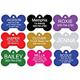 Pet ID Tags - Bone, Round, Heart, Bow Tie, and Rectangle. Front and Back Engraving. Various Colors and Sizes. For Dogs and Cats. Anodized Aluminum.