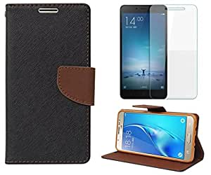Online Street Premium Flip Cover With Tempered Glass For Samsung Galaxy A5 - (Black Brown + Tempered Glass)