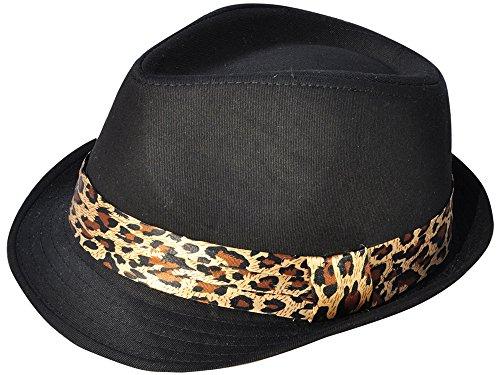 [Simplicity Trendy Trilby the Cowboy Fedora Hat, Black/Leopard] (Leopard Cowboy Hat)