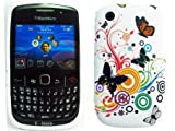 Blackberry Curve 8250 9300 Floral Butterfly Back Skin Soft Cover Case MobileZoneUK