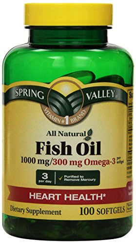 Spring Valley - Fish Oil 1000 mg, Omega-3, All Natural, Regular Strength Twin-Pack - 2 Bottles of 100 Softgels Each.