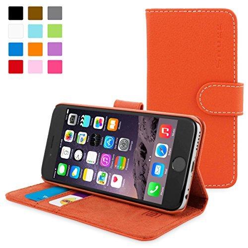 英国Snugg製 iPhone6用 PUレザー手帳型ケース 生涯補償付き(オレンジ)