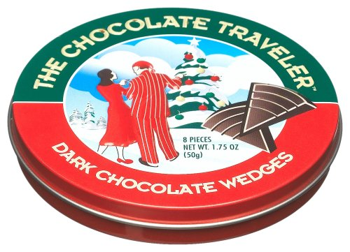 The Chocolate Traveler Christmas Dark Chocolate Wedges, 1.75-Ounce Tins (Pack of 12)