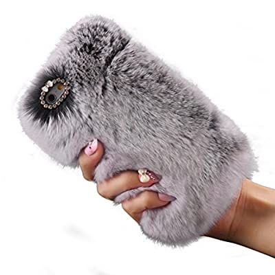 Iphone 6S Plus TOOPOOT® Warm Fluffy Villi Fur Plush Wool Bling Cover For Apple IPhone 6S Plus (c)