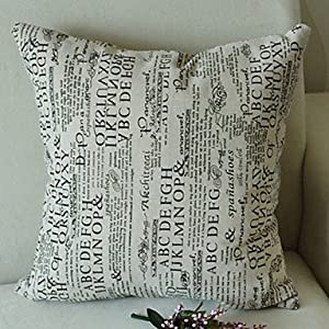 retro newspaper words pattern decorative pillow with insert