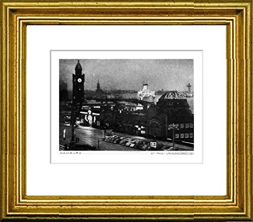 Single-colored hand-crafted etching Hamburg, Landungsbrücken (Germany) by Peters in a gold frame behind a passe-partout, graphics, art design, art print