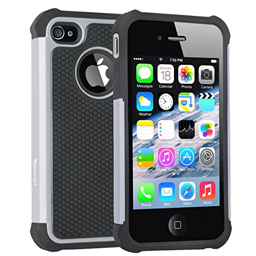 iPhone 4 Case,Korecase Football Surface Series Shockproof Hard Plastic and Soft Silicone Hybrid Dual Layer Armor Rugged Protective Case for Apple iPhone 4\4s (Grey) (Football Iphone 4 Case compare prices)