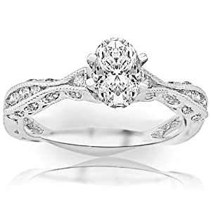 1.29 Carat Oval Cut / Shape 14K White Gold Channel Set Eternity Curving Diamond Engagement Ring ( J Color , SI1 Clarity )