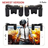 Teepao Mobile Game Controller(Newest Version),Sensitive Gaming Induction Shoot And Aim Buttons For PUBG/L1R1/Knives Out/Rules Of Survival,Shooting Game Auxiliary Tool For Android IOS Tablet(2 Pair) (Color: Black)