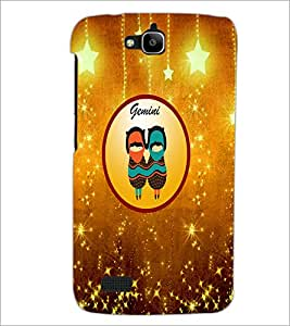 PrintDhaba Zodiac Gemini D-3720 Back Case Cover for HUAWEI HONOR HOLLY (Multi-Coloured)