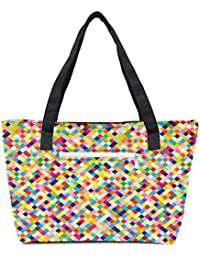 Pack Of 2 Aztec Digitalisation Combo Tote Shopping Grocery Bag With Coin Pencil Purse