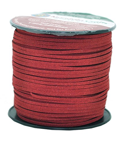 Mandala Crafts® Long Micro-Fiber Faux Leather Suede Cord,100 Yards,300 Feet (Maroon)