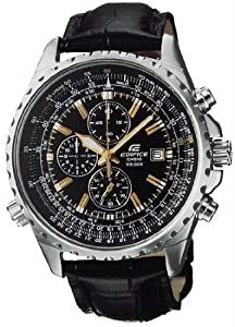 Casio Men's Stainless Steel Edifice Flight Two Tone Black Dial Tachymeter Strap
