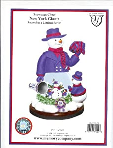 New York Giants Limited Edition Memory Company Snowman Cheer Snowglobe Christmas... by Memory Co.