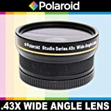 Polaroid Studio Series .43x High Definition Wide Angle Lens With Macro Attachment, Includes Lens Pouch and Cap Covers For The Olympus Evolt E-30, E-300, E-330, E-410, E-420, E-450, E-500, E-510, E-520, E-600, E-620, E-1, E-3, E-5 Digital SLR Cameras Whic