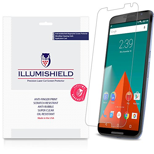 Illumishield - Google Nexus 6 Screen Protector With Lifetime Replacement Warranty - Japanese Ultra Clear Hd Film With Anti-Bubble And Anti-Fingerprint - High Quality (Invisible) Lcd Shield - [3-Pack] Oem / Retail Packaging