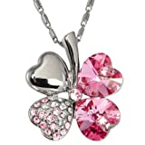 511a  INXUL. SL160  18k Gold Plated Swarovski Crystal Heart Shaped Four Leaf Clover Pendant Necklace   Pink Sapphire